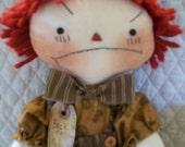 Primitive Cute Raggedy Back to school Boy doll by yellowsweetpotato