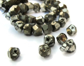 Pyrite Nugget Beads, 8 Inch Strand, 6mm-7mm Natural Gemstones for Making Jewelry, About 40 Rough Natural Pyrite Beads (S-Py1a)