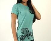 Octopus Shirt - Women's Tshirt - Octopus Art - Tribal Tattoo Shirt - Polynesian Tattoo - Screenprint Tshirt