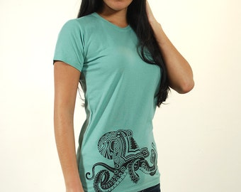 Octopus Shirt - Women's Tshirt - Octopus Art - Tribal Tattoo Shirt - Polynesian Tattoo - Screenprint Tshirt