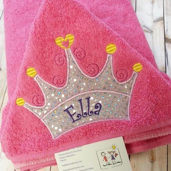 Personalized Princess Hooded Towel With Crown Tiara Custom