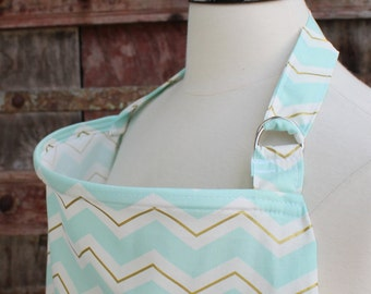 Beautiful Nursing Cover-Spa/Gold Chevron-Free Shipping When Purchased With A Wrap