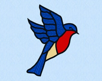 Flying Bluebird machine embroidery design file