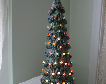 Vintage Style Lighted Christmas Tree - Tall Slim Christmas Tree - Christmas Centerpiece - Lighted Christmas tree - 16 inches tall
