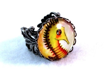 Seahorse Ring, Antique Silver Adjustable Ring, Bronze Ring, Cute Fish Seahorse Art, Filigree Cocktail Ring, Green Red, Nautical Jewelry