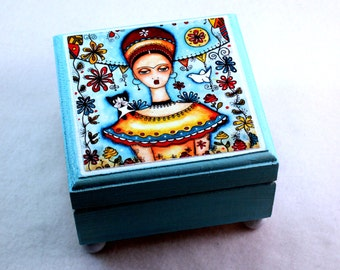 Frida Jewelry Box, Girl and Cat Box, Small Wood Trinket Keepsake Box, Yellow Blue, Day of the Dead, Mexican Art