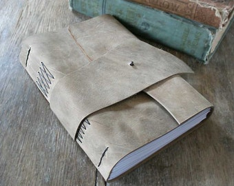 "Leather Journal / Sketchbook / Guestbook . Large 9""x6"" . Rustic . Handmade Handbound. distressed smokey brown (320pgs)"