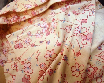 vintage curtains drapes pink flowers blue leaves Three 3 panels about 6 yards heavy weight cotton fabric