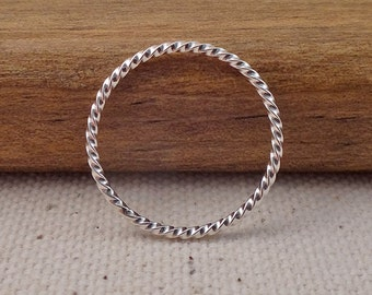 Twist Stacking Ring - Stackable Rope Ring - Skinny Stack Ring - Thin Silver Ring