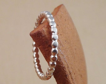 Dot ring, Stacking bead ring, Sterling Silver Hammered ring