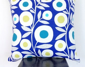 Blue and Lime Retro Mod Flower Cushion Cover