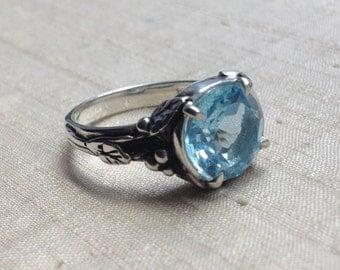 Sky Blue Topaz and Sterling Woodland Vine Ring