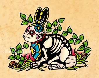 Day of the Dead Bunny RABBIT Dia de los Muertos Art Print 5 x 7, 8 x 10 or 11 x 14