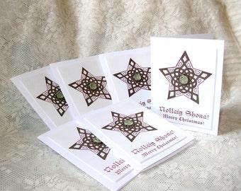 Celtic Christmas Cards with Star design, Green and Burgundy, White, Set of 6, Irish Ireland Scottish Scotland, Nollaig Shona Gaelic Greeting
