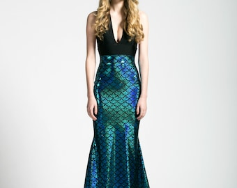 Mermaid Tail Maxi Skirt, Caribbean Turquoise