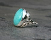 Amazonite Deco Ring, Sterling Silver Ring, Large Stone, Cabochon Gemstone, Aqua Ocean Blue Green, Turquoise Color Gemstone, Ring Size 7