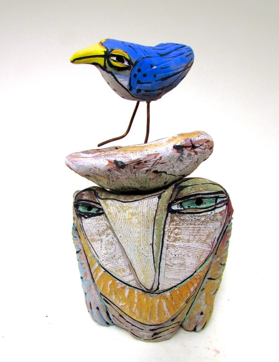 "Owl, handmade one of a kind art, ""Owl and the Blue Beauty Bird Dreaming Love at the Sacred River"", 7-3/4"" tall"