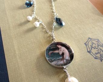 One of a kind art pendant, ocean themed necklace in sterling silver. Waterhouse Mermaid fine art painting, pearls, sea, miniature scene