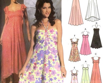 Evening gown pattern or bridesmaid or cocktail dress sewing pattern Design your own Simplicity 5044 Sz 6 to 12 UNCUT