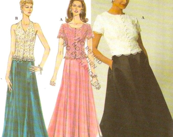 90s Jessica McClintock Mother of the Bride evening wear Wedding halter 2 piece dress Sewing pattern Simplicity 7436 Sz 6 to 10 UNCUT