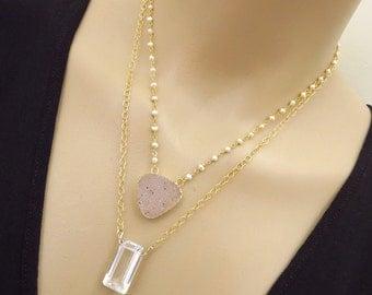 Natural Drusy-Emerald Cut Crystal Quartz-Fresh Water Pearl 2 Strand Layering Gold Vermeil Druzy Necklace