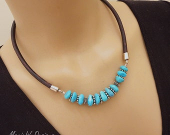 Natural Nacozari Turquoise-Bali Handmade Silver-Distressed Brown Leather-Unisex Men's Necklace