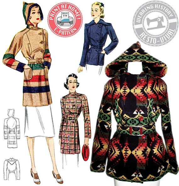 1930s Style Coats, Jackets | Art Deco Outerwear 1930s Ahwahnee Coat- Blanket Coat Pattern- Wearing History PDF Vintage Sewing Pattern $14.00 AT vintagedancer.com