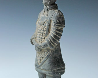 Vintage Chinese asian clay soldier warrior figure