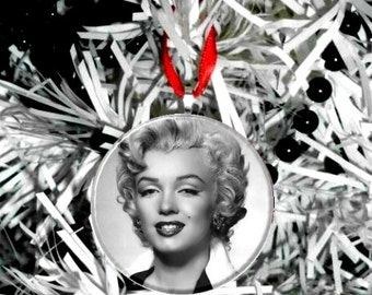 Marilyn Monroe Black and White Head shot  Ornament