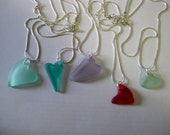 Heart Deep RED beachglass pendant, seaglass inspired vintage glass. Be my valentine gift