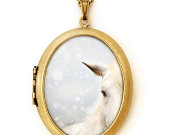 Horse Locket - Winter Mare - Winter Wonderland Wild White Horse Equine Photo Locket Necklace