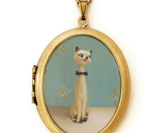 Art Locket - Claude - Siamese Cat Oil Painting Reproduction Art Locket Necklace