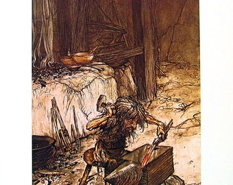 Mime at the Anvil - Arthur Rackham - circa 1911 - 1974 Vintage Children's Storybook Page - 11 x 9