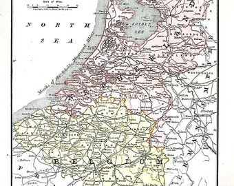 Map of Belgium and the Netherlands - 1890 Antique Map - Antique Encyclopedia Book Page
