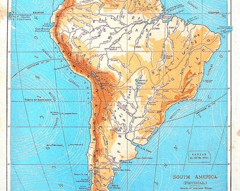 Map of South America - Physical Map - Continent Map - Antique Map Over 100 Years Old - 1901 Antique Geography Book Pag