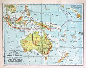 1898 Antique Map - Map of Australia and the Islands of the Pacific - Antique History Book Page - 12 x 10