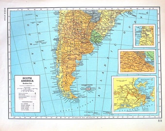 South America Map, Southern Part, South America Map, Central Part - 1947 Vintage Map - Large 2 Sided Book Page from World Atlas