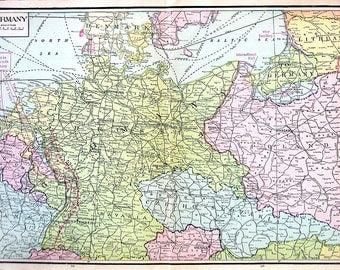 Large Old Vintage Map, 1921 Map of Germany Book pge - 14 x 10