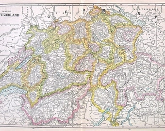 Large Switzerland Map - 1921 Vintage Map of Switzerland - Vintage Book Page - 14 x 10