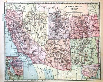 1902 Antique Map - Southwestern Group - US State Map - Antique History Book Page - 12 x 10