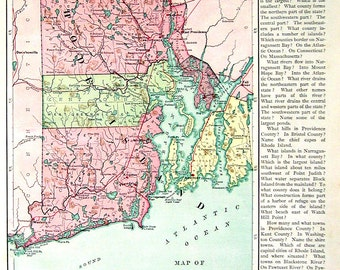 1875 Antique Map Ilustration- US State Map - Rhode Island