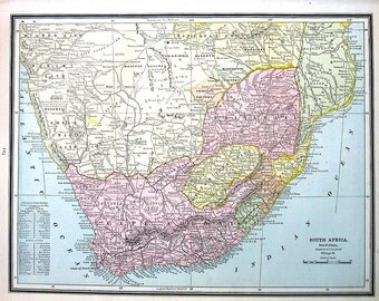 Map of South Africa - 1883 Antique Map - Crams'  World Atlas Book Page - 14 x 11