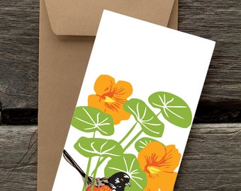 Towhee and Nasturtium -- 8 Blank flat cards and envelopes