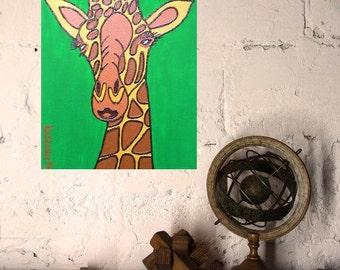 """Giraffe Ferdinand... original painting, 6.3x8.7""""/16x22 cm, acrylic, animal, fantasy, wildlife"""