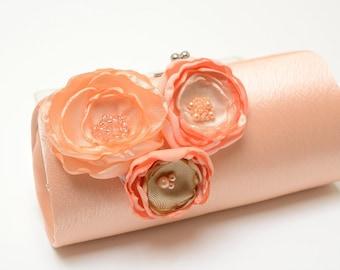 Peach Clutch with Peach Apricot & Champagne Flowers - Bridal Clutch - Bridesmaid Clutch - Petite Shabby Chic Bouquet Clutch