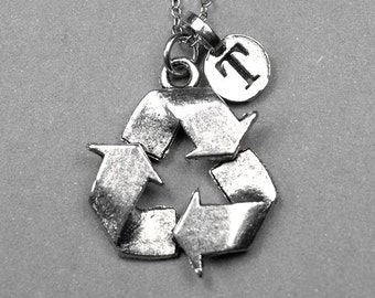 Recycle Symbol Necklace, recycle sign charm, antiqued, silver plated pewter, initial necklace, initial jewelry, personalized gift, monogram