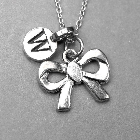Ribbon necklace bow necklace bow tie necklace silver plated for Ribbon tie necklace jewelry