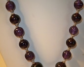 Purple Necklace Vintage Knotted Amethyst Bead Signed Necklace