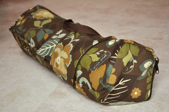 ON SALE yoga, pilates mat bag -- beautiful brown, green, blue, and tan floral yoga bag with zipper and adjustable strap