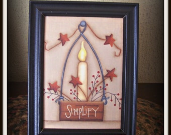 Primitive Star Candle Framed Canvas Hand Painted Home Decor Picture